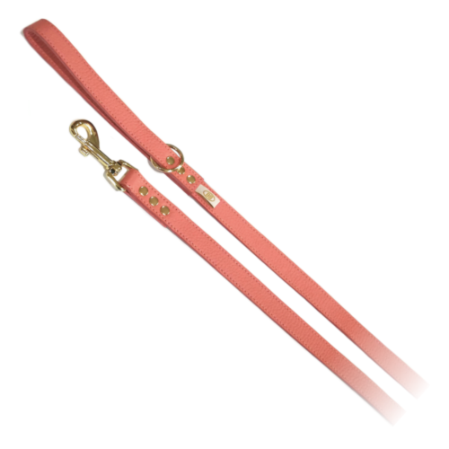 Buddy Belts Elite Leather Leash (Coral Dream)