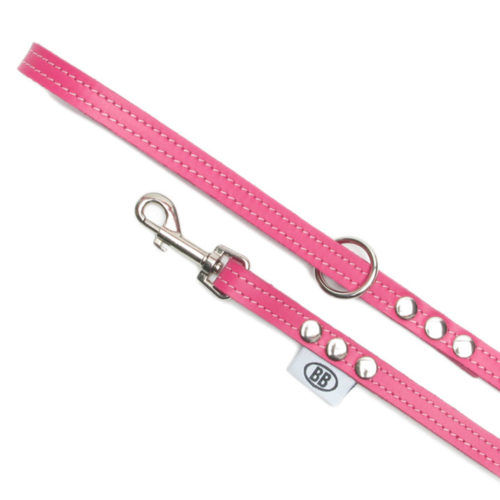 Buddy Belts Premium Leather Leash (Hot Pink)